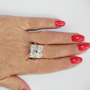 Jewelry - 16 Total Carat Cut CZ Quad Sterling Silver Ring